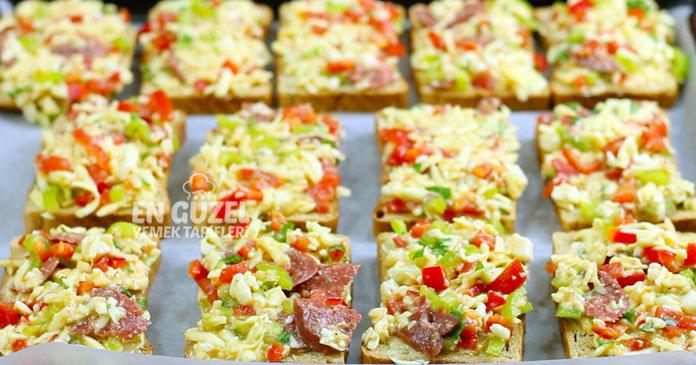 üstü soslu kahvaltılık ekmek dilimleri tarifi